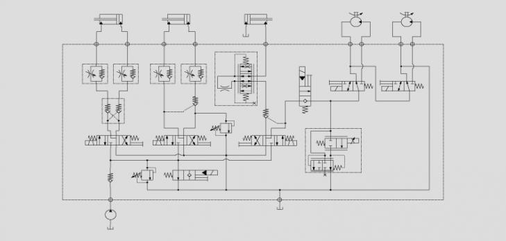 电磁球阀控制马达启停和油缸的负载
