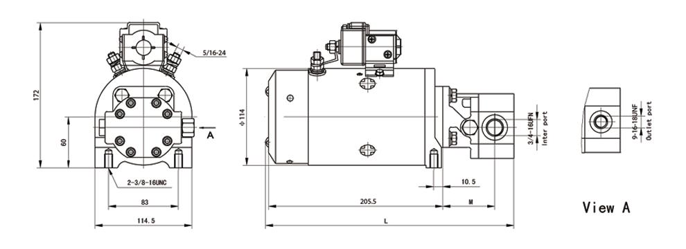 5英寸直流电机组成,泵里集成了溢流阀与单向阀.